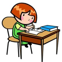 girl writing cartoon