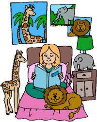 girl reading animals