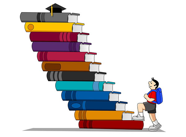 A young carton student climbs a mountainous staircase of books toward a graduation cap.