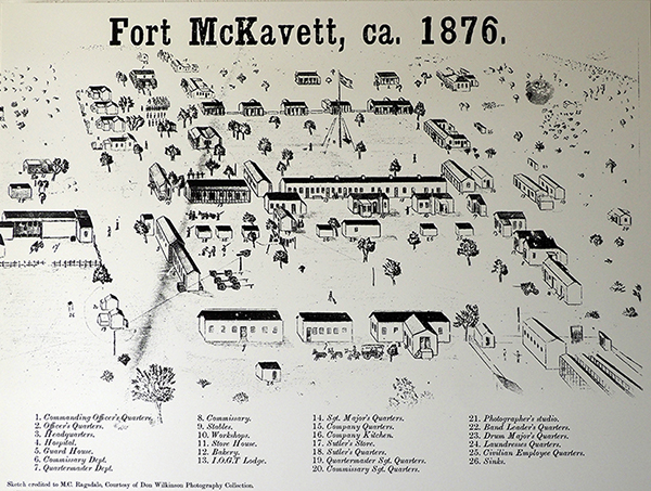 A photograph of a hand-drawn sketch of the aerial view of Fort McKavett in 1876, depicting the layout of the buildings of the fort, including the barracks, stables, laundry, bakery, hospital, officer's quarters, and more.