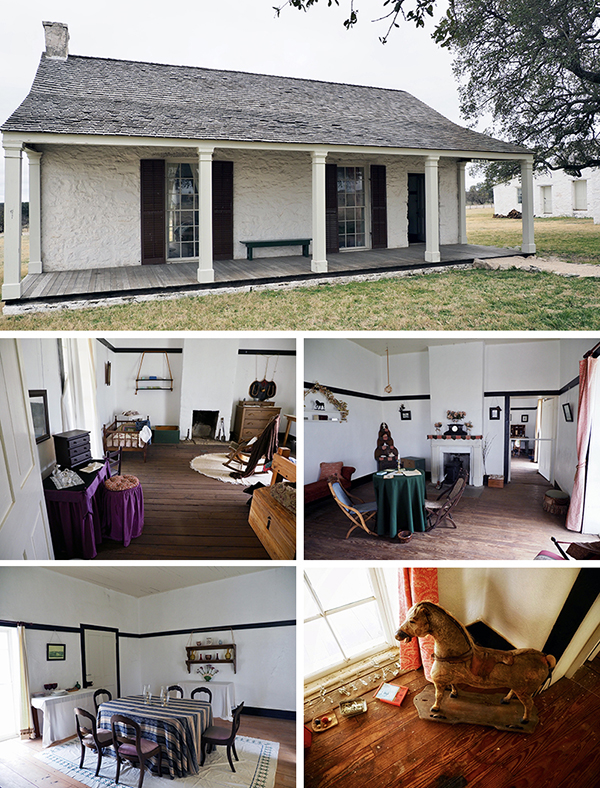 Top photo, exterior of officer's quarters at Fort McKavett. Small photo top left: the officer's living quarters Small photo top right: the officer's parlor Small photo bottom right: typical children's toys of the period displayed in the officer's home Small photo bottom left: the dining room in the officer's quarters