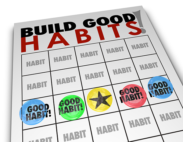 "Bingo scorecard titled ""Build Good Habits"" with a winning line of Good Habit! squares. Blog by children's book author Don M. Winn."
