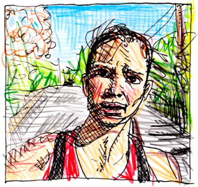 Square cartoon titled Country Running by Edith Zimmerman where she depicts herself running on a road in the country in color.