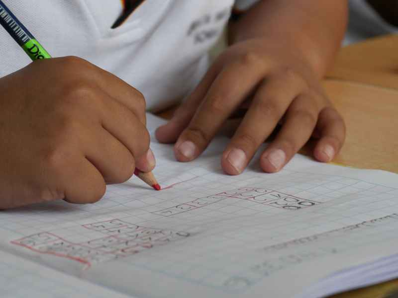 A child writes numbers in a grid as he works on his homework. What can parents who wonder if their child has too much homework do?