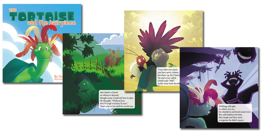 The cover and three sample pages from The Tortoise and the Hairpiece by Don M. Winn. This picture book can be used to start conversations with kids about how to have a positive body image.