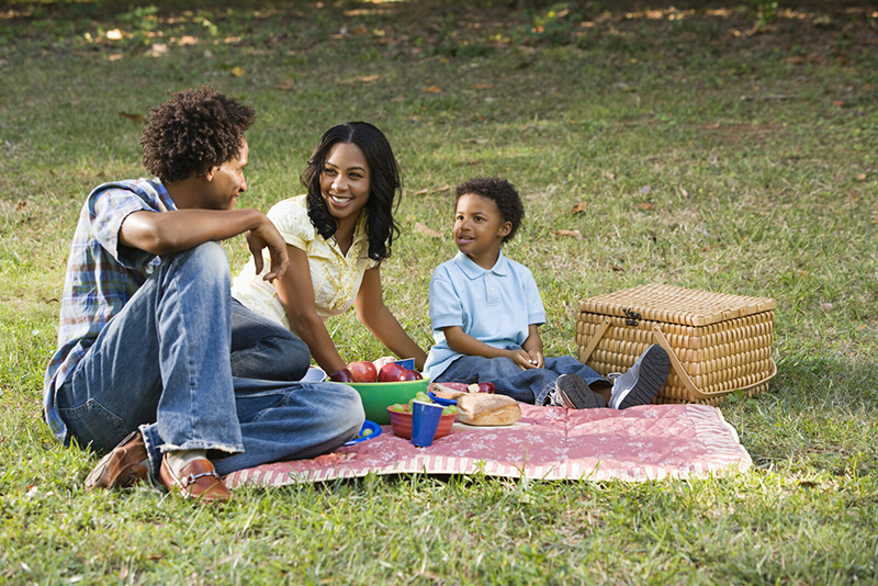 """A mother, father, and young son enjoy a picnic outside in nature. Stepping outside can refresh us and make us feel """"found"""" again, because the land knows you, even when you are lost."""
