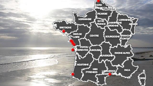 carte des plages couvertes par nos bornes