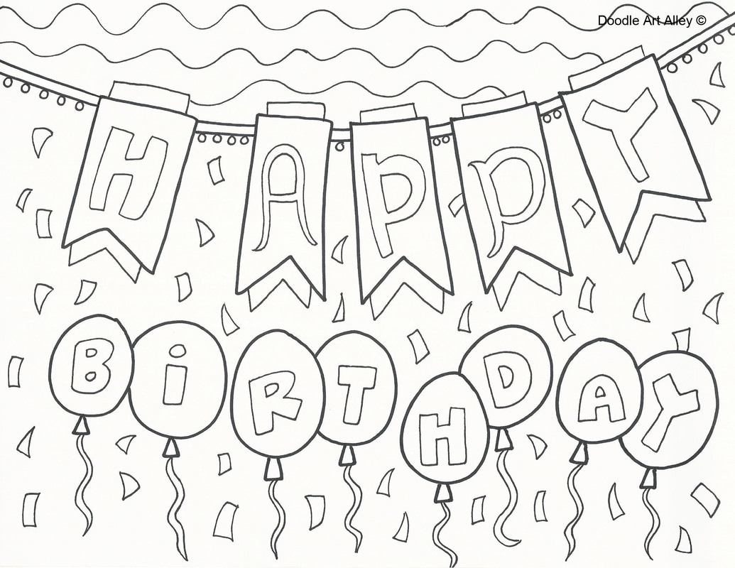 Free Printable Happy Birthday Banner Coloring Pages   Novocom.top