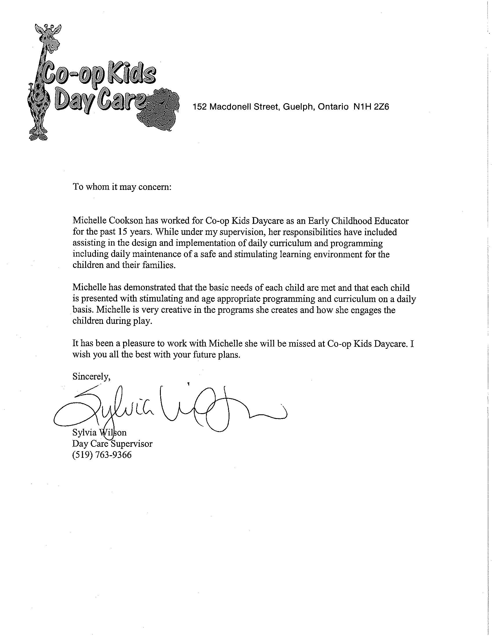 child care recommendation letter reference letter daycare sample ...