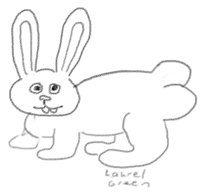 a drawing of a rabbit with huge butt cheeks