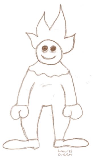 doodle of a spooky clown