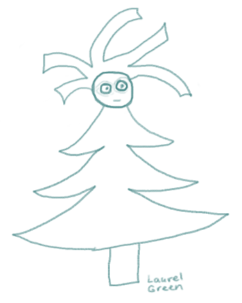 a doodle of a fir tree with a human head