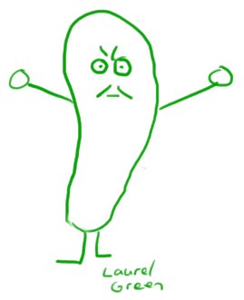 a drawing of an angry pickle with a moustache