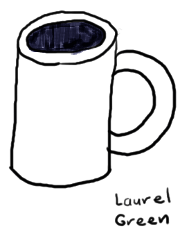 a drawing of an empty mug