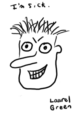 a doodle of a manic-looking face