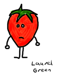 a drawing of a strawberry being sad