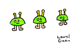 a drawing of three little aliens