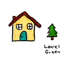 a drawing of a house and a tree