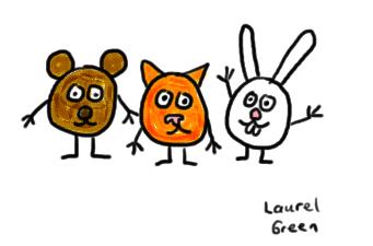 a drawing of three circular creatures
