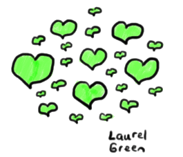 a drawing of a bunch of green hearts