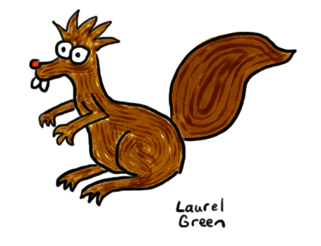 a drawing of a manic-looking squirrel