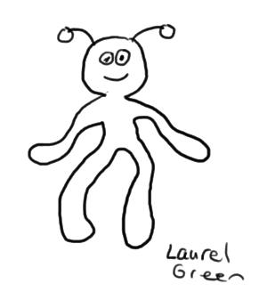 a drawing of a weird alien