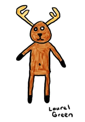 a drawing of a bipedal deer