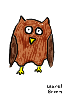 a drawing of an owl