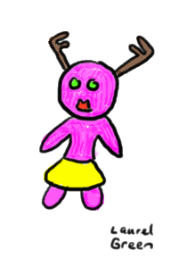 a drawing of a girl with antlers
