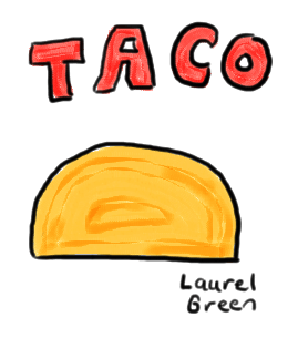 a drawing of a taco