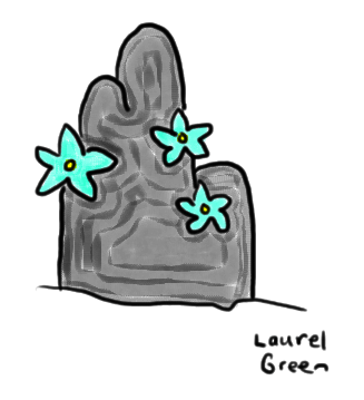 a drawing of a rock with flowers growing out of it