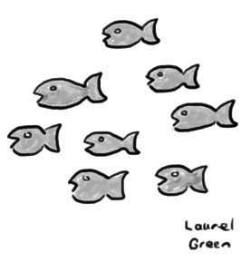 a drawing of a school of fish