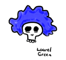 a drawing of a skull wearing a blue wig