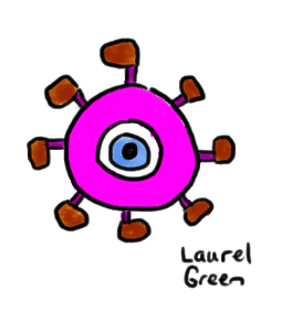 a drawing of an eyeball monster with a lot of feet
