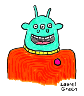 a drawing of a blur alien with three eyes and two noses