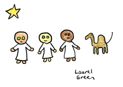 a drawing of the three wise men and a camel