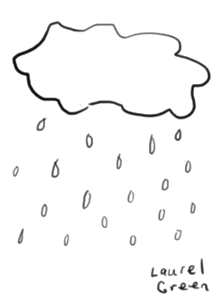 a drawing of a cloud with rain coming out of it