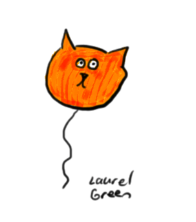 a dawing of a balloon in the shape of a cat's head
