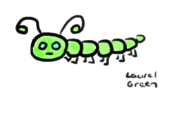a drawing of a green caterpillar