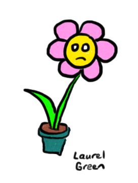 a drawing of a sad flower