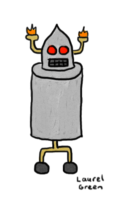a drawing of a robot on wheels