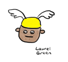 a drawing of a guy wearing a winged hat