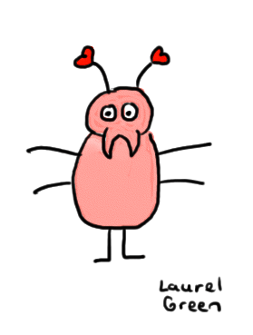 a drawing of an insect with hearts on its antennas