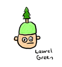 a drawing of a guy wearing a hat with a tree on it