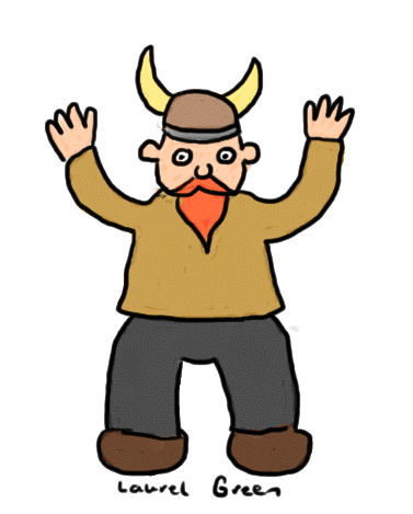 a drawing of a viking