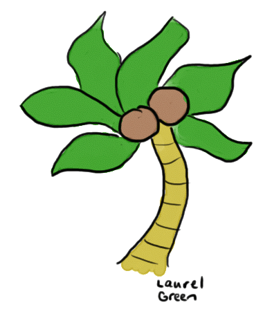 a drawing of a palm tree