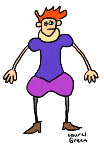 a drawing of a guy wearing old-timey poofy pants
