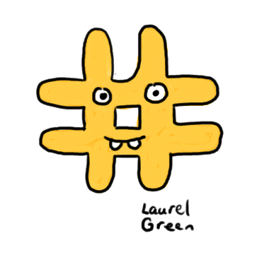 a drawing of a hash symbol with a happy face