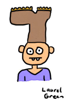 a drawing of a guy with a boot on his head
