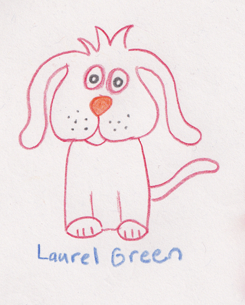 a drawing of a dog with rabbit ears
